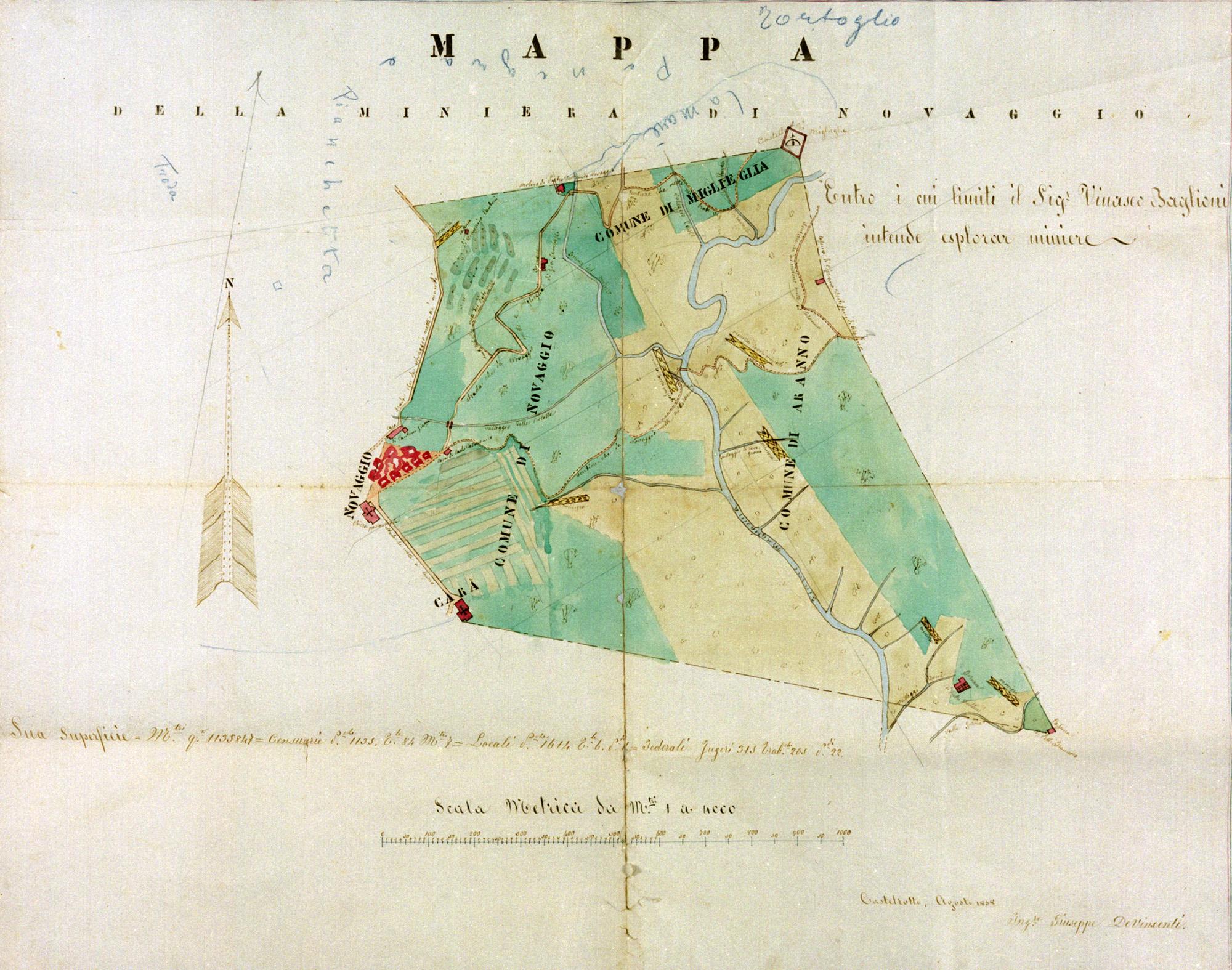 Mappa della miniera di Novaggio